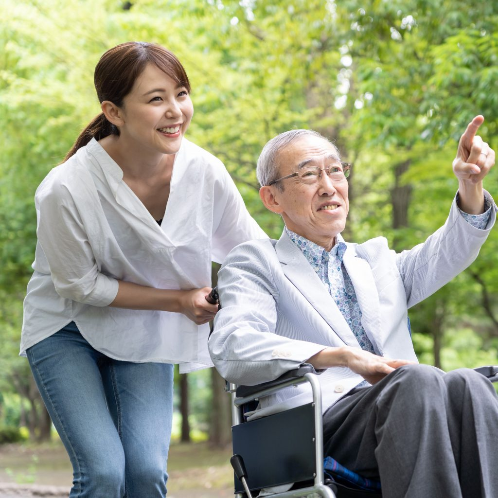 Asian Senior with daughter